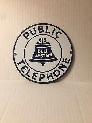 "Vintage 7"" Round Bell System Public Telephone Porcelain Sign  NEAR MINT"