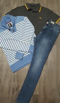 BOYS CLOTHING BUNDLE AGE 13-14 Yrs NEXT,FRED PERRY,JUMPER,SKINNY JEANS,POLO TOP