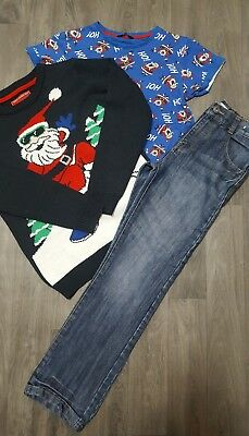 BOYS CHRISTMAS CLOTHES AGE 10-11 Years JUMPER,TOP,JEANS,OUTFIT,SANTA,WINTER