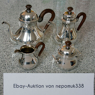 Teeservice / Kaffeeservice aus 925 Sterling Silber mit Ebenholz, Made in Germany