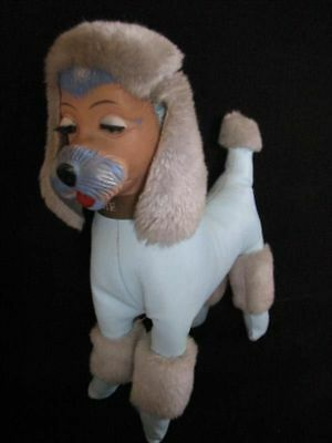 Vintage 1955--STUFFED POODLE AUTOGRAPH DOG--NEAT!!   50s retro toy 1950s