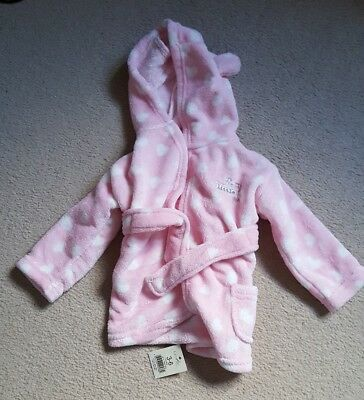 George baby girl 3-6 months pink & white polkadot dressing gown