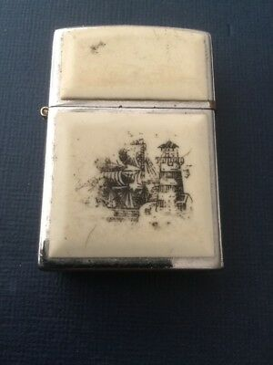 Vintage 97 Chrome Scrimshaw Tall Ship And Light House Double Sided Zippo Lighter