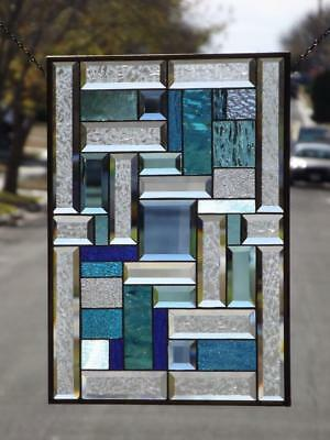 "Turquoise& Blue  ( Sold Separtley)-Beveled Stained Glass 22 1/4""x16 1/4"""