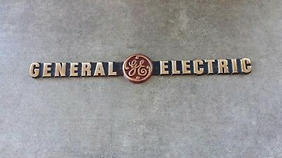 Antique Vintage 12 Inches Brass General Electric Ge Rare Sign Plaque Name Plate