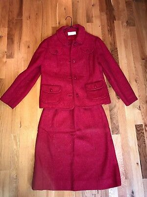 Vintage Womens PENDLETON WOOL Suit Cranberry Size 14 - Great for Holidays!