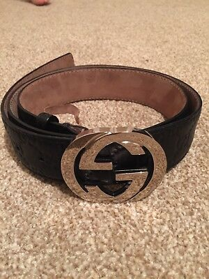 Men's Black Gucci Embossed Leather Belt With Silver Buckle. Size 100.40