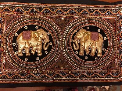 Vintage Hand Made/Hand Embroidered BURMESE KALAGA Collectible Tapestry 31x18.5