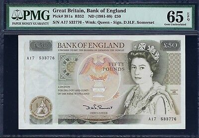 Great Britain ND (1981-88) P-381a PMG Gem UNC 65 EPQ 50 Pounds (Somerset)