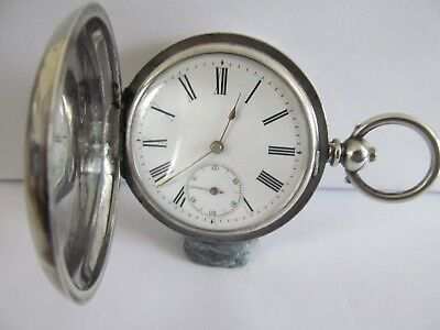 1890/1907 pocket watch full hunter solid silver very good condition and working