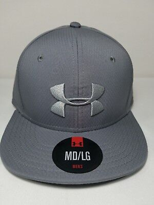 Men's Under Armour Gray Elevate Stretch Fit Flat Bill Hat Gray Cap 1242638 $30