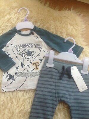 Gorgeous 3-6M All New Tigger Top Nwot/tagged Striped Joggers Low/comb P&p £4.75