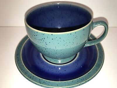 Denby-Langley Harlequin Breakfast Cup & Saucer Set Blue & Green