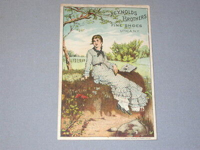 vintage Victorian TRADE CARD ** Reynolds Brothers Fine Shoes ** Utica New York
