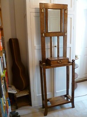 Victorian Oak Wood Hall Hat Stand With Mirror