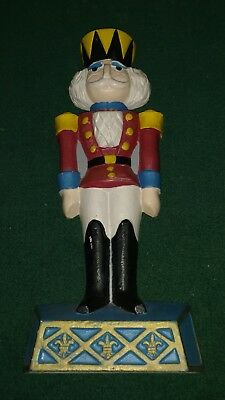 VINTAGE CAST IRON DOORSTOP TOY SOLDIER / NUTCRACKER w/Fleur de Lis By KURT ADLER