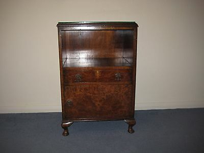 Quality Burr Walnut Glass-topped Bedside Table/Cabinet.