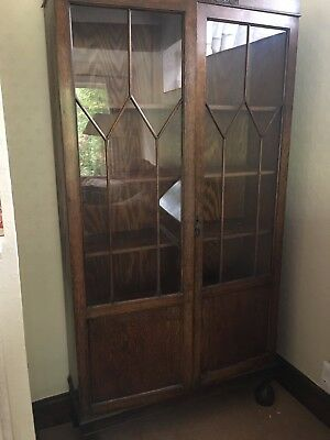 Vintage Solid Oak Double Door Bookcase