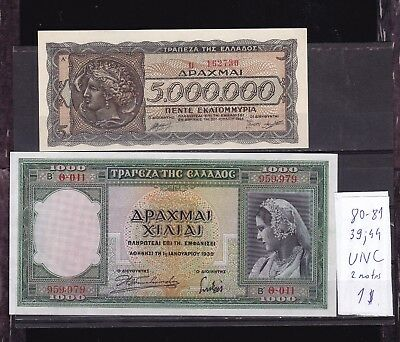 Greece 1939;1944 UNC two banknotes.1000; 5000000 Drahma O;U series.See scan.