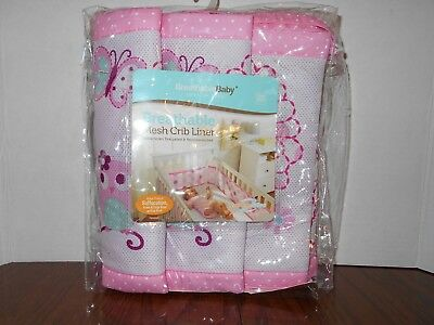 Breathable Baby Mesh Crib liner Pink w/Owls and Butterflies NIP
