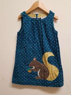 **MINI BODEN CORD CHRISTMAS APPLIQUE 3-4 YEARS SQUIRREL DRESS** girls