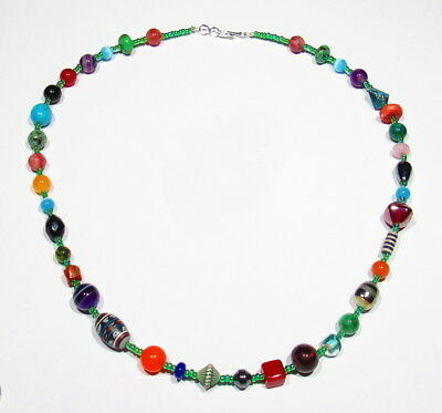 """OLD Zuni Indian Trade Beads Amethyst Coral Turquoise Jade Carnelian Necklace 21"""""""