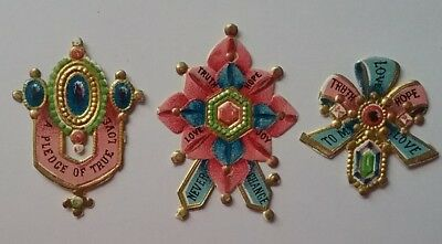 3 Emboss.diecut Victorian Romantic Greeting Scraps that look like jewels.Lovely!