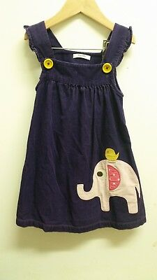 **MINI BODEN 3-4 YEARS CORD APPLIQUE DRESS PINAFORE** elephant girls