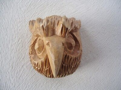 Vintage 1960's HAND CARVED MEXICAN OWL MASK / SIGNED by GUSTAVO HOYTA