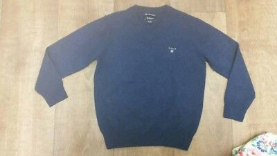 **gant Navy Boys 7-8 Years 100% Fine Lambswool Sweater Jumper**