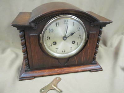 Antique Jahresuhrenfabrik  German 8 Day Mantle Clock Good Running Condition Oak