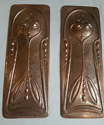 Pair Art Noveau Finger Plates Copper.