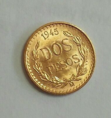 Mexico 2  Pesos  1945 Gold Coin 0.0482 oz. AGW Unc