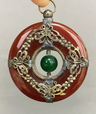 Chinese Handwork Decoration Jade Armor Miao Silver Carve Butterfly Lucky Pendant