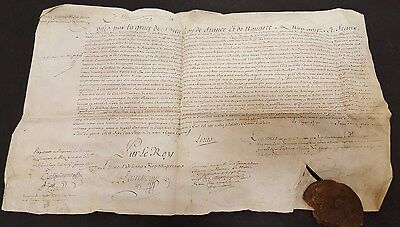 Royal document confirmation of nobility French Regency 1700's wax seal