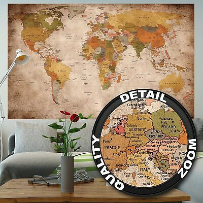 World Map Large Antique Wall Mount Old Earth Picure Home D?cor Vintage Big map