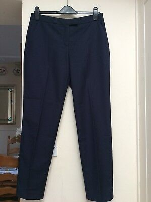 Hobbs Nw3 Dark Navy, Delicate Print 70% Wool Trousers With Pockets. Size 12.