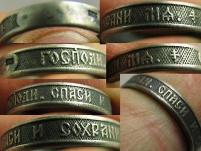 Prayer ! Old Vintage Russian Orthodox Church Sterling Silver Ring #6950