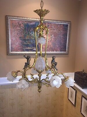 "Antique French Bronze Metal Cherubs Angel Chandelier 3 arms 8 bulbs.   36""Hx32""W"