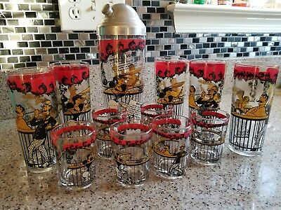 Vintage Mid Century Modern  Barware set Liquor shots glass Shaker Cocktail drink