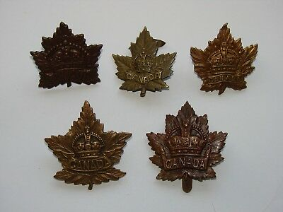 Canada WW1 CEF Cap Badge Lot, General Service, 5 different patterns