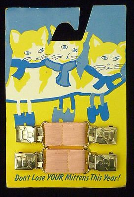 Charming Graphics Vintage Mitten Clips Pink Elastic 3 Little Kittens 1950s Cute