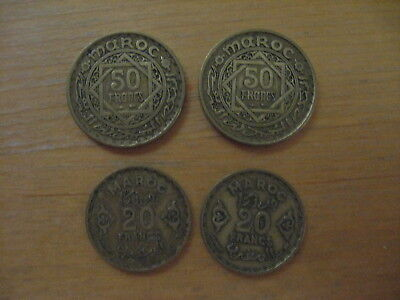 Lot of 4 Morocco Coins - 20 Francs (2coins) & 50 Francs (2 coins) - Circulated