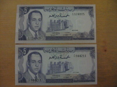 Lot of 2 Morocco 5 Dirham 1970 Series A/56 Notes - UNC
