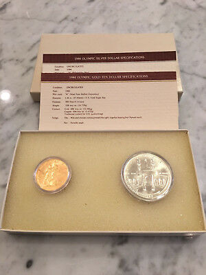 1984-W & S Gold $10 and Silver $1 Olympic Commemorative 2 Coin Uncirculated Set