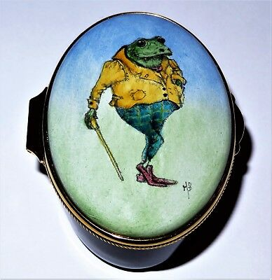 "Ashley English Enamel Box - Mr. Toad -  ""the Wind In The Willows"" - Frogs - Mib"