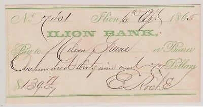 (N11-1) 1865 USA bank cheque for $139.77 Lion bank (1A)
