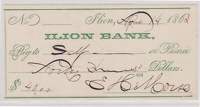 (N11-6) 1863 USA bank cheque for $40.00 Lion bank (6F)