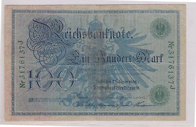 (N1-28) 1908 Germany 100 marks bank note (28AC)