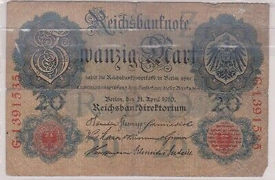 (N1-55) 1910 Germany 20 marks bank note (55BE)
